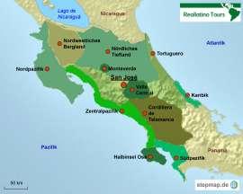 Costa Rica Karte mit Reisezielen