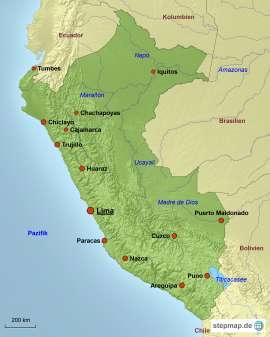 Peru Karte mit Reisezielen