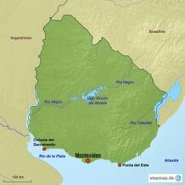 Uruguay Karte mit Reisezielen
