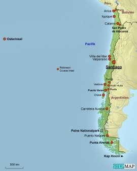 Chile Karte mit Reisezielen