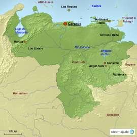 Venezuela Karte mit Reisezielen