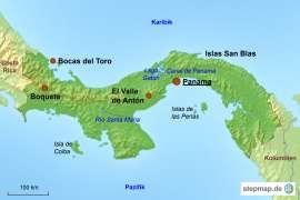 Panama Karte mit Reisezielen