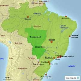 Brasilien Karte mit Reisezielen