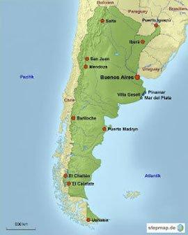 Argentinien Karte mit Reisezielen