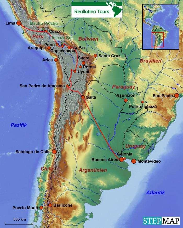Südamerika Karte Länder.Südamerika Reise Reiseverlauf