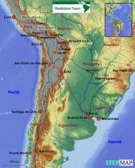 Karte Reiseverlauf Südamerika Rundreise durch 5 Länder