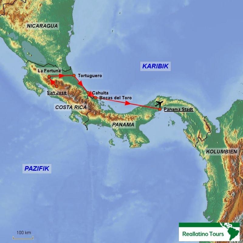 Costa Rica Karte Zum Ausdrucken.Gruppenreise Costa Rica Panama Entlang Der Karibik