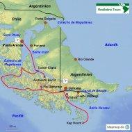 Karte Reiseverlauf Schifffahrt Punta Arenas-Ushuaia