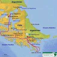 Karte Reiseverlauf Schifffahrt Ushuaia-Punta Arenas (5 Tage)
