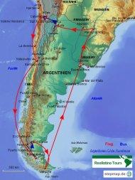 Karte Reiseverlauf Argentinien-Chile-Rundreise
