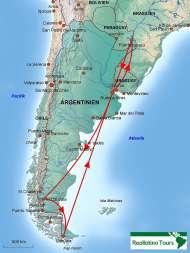 Karte Reiseverlauf Argentinien Rundreise
