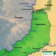Karte Reiseverlauf Puerto Iguazú und die Iguazú Wasserfälle