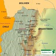 Karte Reiseverlauf Salta und Umgebung