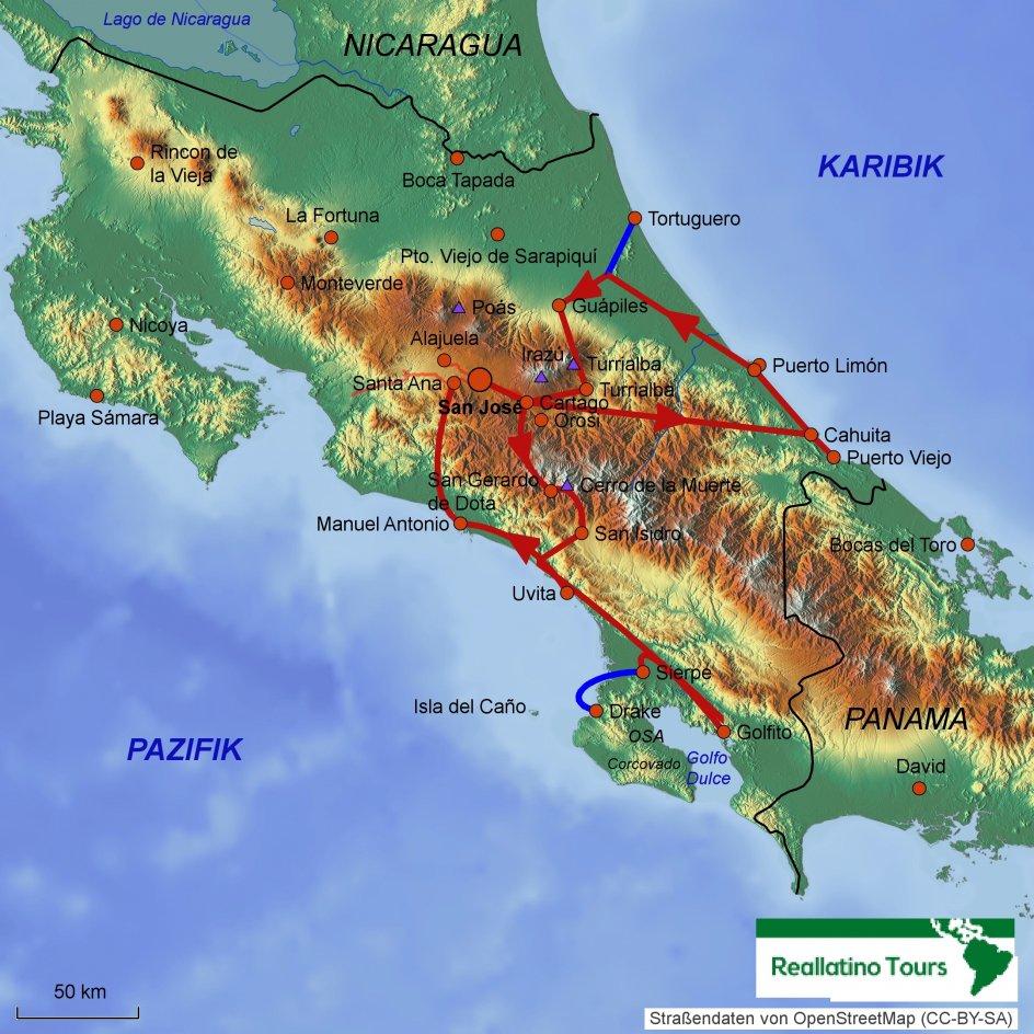 Costa Rica Karte Zum Ausdrucken.Costa Rica Mietwagenreise Karibik Pazifik Hotels Preise