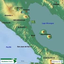 Reisekarte San Juan del Sur, der schöne Pazifikstrand Nicaraguas