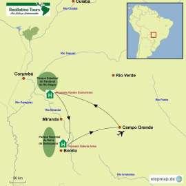 Reisekarte Entdecken Sie viele Tiere und Pflanzen im brasilianischen Südpantanal!