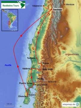 Reisekarte Natur pur! Die Chile Reise zu Vulkanen, Seen und Wälder.