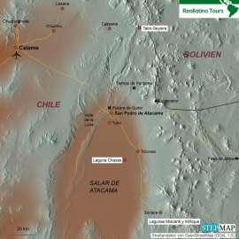 Reisekarte Reise nach San Pedro de Atacama und Exkursionen der Extraklasse