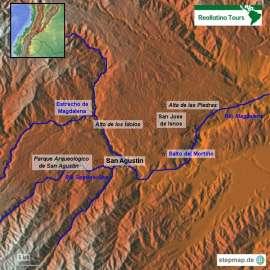 Reisekarte Kolumbien Reise zu den archäologischen Ausgrabungen San Agustín