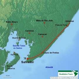 Reisekarte Reise nach Salvador da Bahia und Badeurlaub Imbassaí-Traumstrände