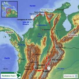 Reisekarte Gruppenreise Kolumbien mit den Höhepunkten des Landes