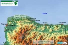 Reisekarte Kolumbien Reise nach Santa Marta und in den Tayrona-Nationalpark