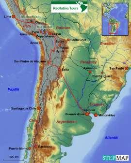 Reisekarte Eine Südamerikareise durch vier Länder