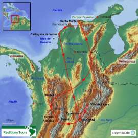 Reisekarte Kolumbien Rundreise zu den Höhepunkten des Landes