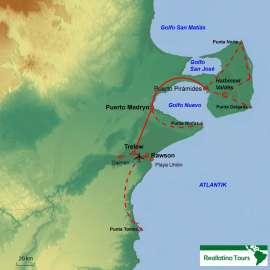 Reisekarte Entdecken Sie die Halbinsel Valdés und Umgebung im Mietwagen