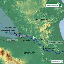 Reisekarte Unberührte Natur am Río San Carlos in Nicaragua