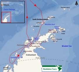 Reisekarte Die Antarktis und den südlichen Polarkreis mit der MS Ortelius entdecken!