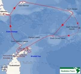 Reisekarte Eine Antarktis Reise mit Besuch der Malwinen und Südgeorgien