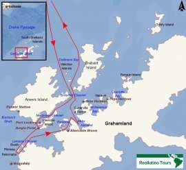 Reisekarte Aktives Abenteuer in der Antarktis mit der MS Ortelius erleben!