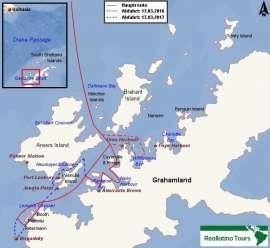 Reisekarte Expeditionsreise zur Walbeobachtung in die Antarktis