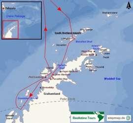 Reisekarte Expeditionsreise zur antarktischen Halbinsel bis zum Polarkreis