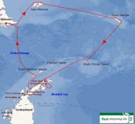 Reisekarte Erleben Sie sowohl die antarktische Halbinsel als auch die Malwinen und Südgeorgien!