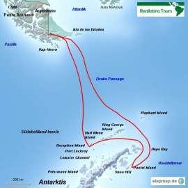 Reisekarte Antarktis und Weddellmeer zu Wasser, zu Land und per Helikopter erkunden!