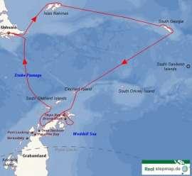 Reisekarte Eine Schiffsreise in die Antarktis, zu den Malwinen und Südgeorgien