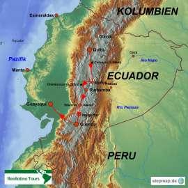 Reisekarte Ecuador Kurzreise von Quito nach Guayaquil