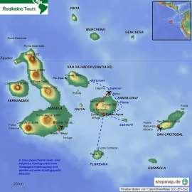 Reisekarte Entdecken Sie die Galápagos Inseln