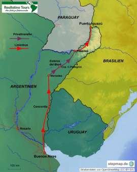 Reisekarte Tierparadies Esteros del Iberá