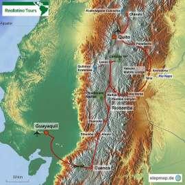 Reisekarte Ecuador Reise von Guayaquil nach Quito