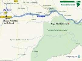 Reisekarte Reise in den Amazonas Regenwald Ecuadors