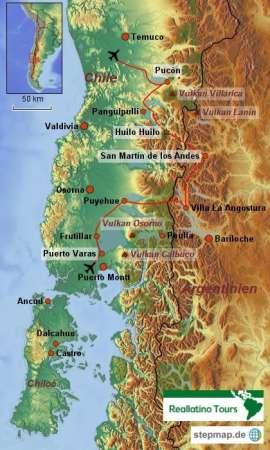 Reisekarte Natur pur! Eine Mietwagenreise zu Vulkanen, Seen und Wälder.