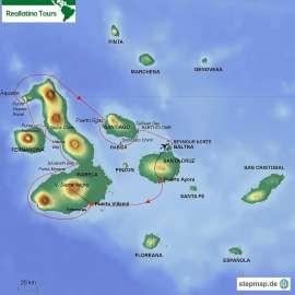 Reisekarte Galápagos-Kreuzfahrt westliche Inseln mit M/C Anahi
