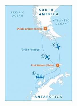 Reisekarte Entdecken Sie die Antarktis auf der MS Ocean Nova