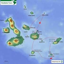 Reisekarte Galápagos-Kreuzfahrt zu den östlichen Inseln mit M/Y Fragata