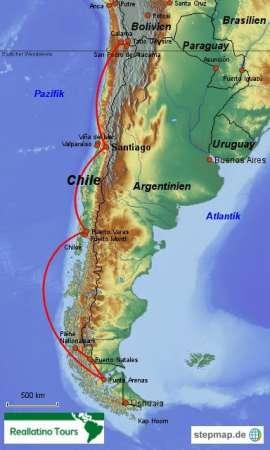 Reisekarte Gruppenreise Chile mit den Höhepunkten des Landes