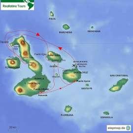 Reisekarte Galápagos-Schiffsreise zu den westlichen Inseln mit M/Y Golondrina