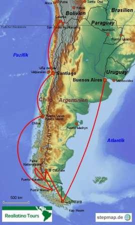 Reisekarte Gruppenreise zu den Höhepunkten Chiles und Argentiniens